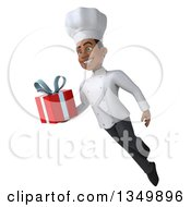 Clipart Of A 3d Young Black Male Chef Holding A Gift And Flying Royalty Free Illustration by Julos
