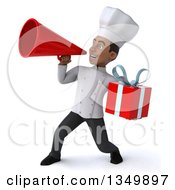 Clipart Of A 3d Young Black Male Chef Holding A Gift And Using A Megaphone Royalty Free Illustration by Julos