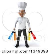 Clipart Of A 3d Young Black Male Chef Carrying Shopping Bags Royalty Free Illustration by Julos