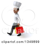 Clipart Of A 3d Young Black Male Chef Walking To The Left And Carrying Shopping Bags Royalty Free Illustration by Julos