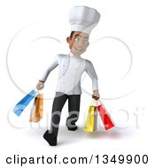 Clipart Of A 3d Young Black Male Chef Walking And Carrying Shopping Bags Royalty Free Illustration by Julos