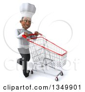 Clipart Of A 3d Young Black Male Chef Walking To The Right With A Shopping Cart Royalty Free Illustration by Julos