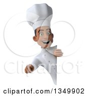 Clipart Of A 3d Young Black Male Chef Pointing Outwards Around A Sign Royalty Free Illustration by Julos