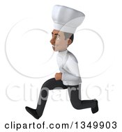 Clipart Of A 3d Young Black Male Chef Running To The Left Royalty Free Illustration by Julos