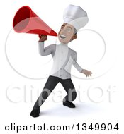 Clipart Of A 3d Young Black Male Chef Using A Megaphone Royalty Free Illustration by Julos