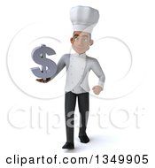 Clipart Of A 3d Young Black Male Chef Holding A Dollar Symbol And Walking Royalty Free Illustration by Julos