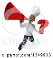 Clipart Of A 3d Young Black Male Chef Holding A Question Mark And Using A Megaphone Royalty Free Illustration