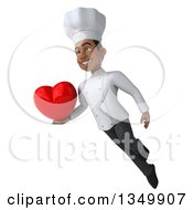 Clipart Of A 3d Young Black Male Chef Holding A Love Heart And Flying Royalty Free Illustration by Julos