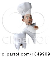 Clipart Of A 3d Young Black Male Chef Holding A Tooth Around A Sign Royalty Free Illustration by Julos