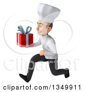 Clipart Of A 3d Young White Male Chef Holding A Gift And Sprinting To The Left Royalty Free Illustration by Julos