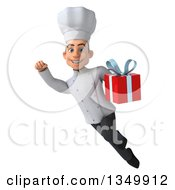 Clipart Of A 3d Young White Male Chef Holding A Gift And Flying Royalty Free Illustration by Julos