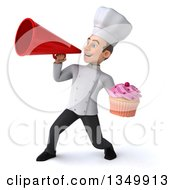 Clipart Of A 3d Young White Male Chef Holding A Cupcake And Using A Megaphone Royalty Free Illustration by Julos