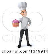 Clipart Of A 3d Young White Male Chef Holding A Cupcake Royalty Free Illustration by Julos