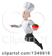 Clipart Of A 3d Young White Male Chef Holding A Tomato Flying And Pointing Royalty Free Illustration by Julos