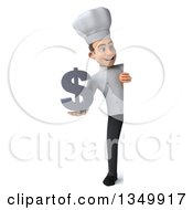 Clipart Of A 3d Full Length Young White Male Chef Holding A Dollar Currency Symbol Around A Sign Royalty Free Illustration by Julos