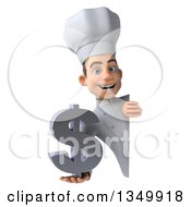 Clipart Of A 3d Young White Male Chef Holding A Dollar Currency Symbol Around A Sign Royalty Free Illustration by Julos