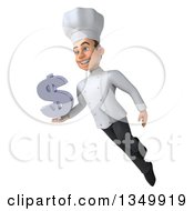 Clipart Of A 3d Young White Male Chef Holding A Dollar Currency Symbol And Flying Royalty Free Illustration by Julos