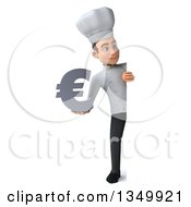 Clipart Of A 3d Full Length Young White Male Chef Holding A Euro Currency Symbol Around A Sign Royalty Free Illustration by Julos