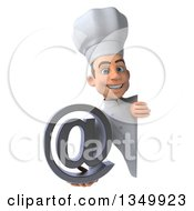 Clipart Of A 3d Young White Male Chef Holding An Email Arobase At Symbol Around A Sign Royalty Free Illustration by Julos
