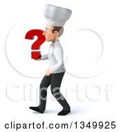 Clipart Of A 3d Young White Male Chef Holding A Question Mark And Walking To The Left Royalty Free Illustration by Julos