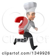 Clipart Of A 3d Young White Male Chef Holding A Question Mark And Sprinting To The Right Royalty Free Illustration by Julos