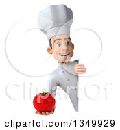 Clipart Of A 3d Young White Male Chef Holding A Tomato Around A Sign Royalty Free Illustration by Julos