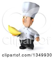 Clipart Of A 3d Short White Male Chef Holding A Banana And Walking To The Left Royalty Free Illustration by Julos