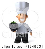 Clipart Of A 3d Short White Male Chef Holding A Blackberry Royalty Free Illustration by Julos
