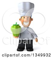 Clipart Of A 3d Short White Male Chef Holding A Green Bell Pepper Royalty Free Illustration by Julos