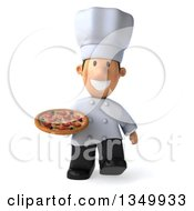 Clipart Of A 3d Short White Male Chef Holding A Pizza And Walking Royalty Free Illustration by Julos