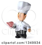 Clipart Of A 3d Short White Male Chef Holding A Beef Steak And Walking To The Left Royalty Free Illustration by Julos
