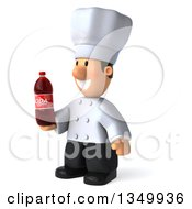 Clipart Of A 3d Short White Male Chef Holding A Soda Bottle And Facing Left Royalty Free Illustration by Julos