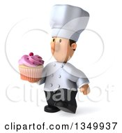 Clipart Of A 3d Short White Male Chef Holding A Cupcake And Walking To The Left Royalty Free Illustration by Julos