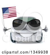 Clipart Of A 3d White Porsche Car Wearing Sunglasses Giving A Thumb Up And Holding An American Flag Royalty Free Illustration