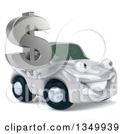 Clipart Of A 3d White Porsche Car Character Facing Slightly Right And Holding A Dollar Currency Symbol Royalty Free Illustration by Julos