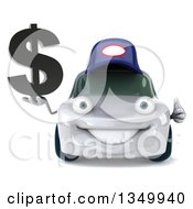 Clipart Of A 3d White Porsche Mechanic Car Character Giving A Thumb Up And Holding A Dollar Currency Symbol Royalty Free Illustration