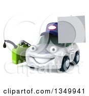 Clipart Of A 3d White Porsche Mechanic Car Character Facing Slightly Left Holding A Blank Sign And A Gas Can Royalty Free Illustration