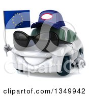 Clipart Of A 3d White Mechanic Porsche Car Facing Slightly Left Wearing Sunglasses And Holding A European Flag Royalty Free Illustration
