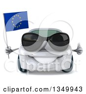 Clipart Of A 3d White Porsche Car Wearing Sunglasses Giving A Thumb Up And Holding A European Flag Royalty Free Illustration