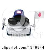 Clipart Of A 3d White Porsche Mechanic Car Wearing Sunglasses Holding A Wrench And A Japanese Flag Royalty Free Illustration