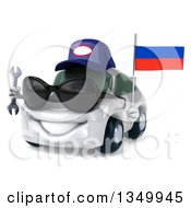 Clipart Of A 3d White Mechanic Porsche Car Wearing Sunglasses Facing Slightly Left Holding A Wrench And A Russian Flag Royalty Free Illustration