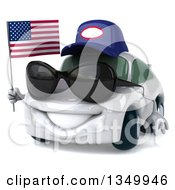 Clipart Of A 3d White Mechanic Porsche Car Wearing Sunglasses Facing Slightly Left And Holding An American Flag Royalty Free Illustration