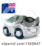 Clipart Of A 3d White Porche Car Wearing Sunglasses Facing Right And Holding An Australia Flag Royalty Free Illustration by Julos