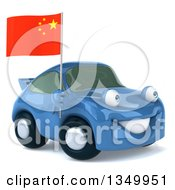 Clipart Of A 3d Blue Porsche Car Facing Right And Holding A Chinese Flag Royalty Free Illustration