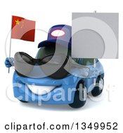Clipart Of A 3d Blue Porsche Mechanic Car Wearing Sunglasses Facing Slightly Left Holding A Blank Sign And A Chinese Flag Royalty Free Illustration