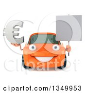 Clipart Of A 3d Orange Porsche Car Character Holding A Blank Sign And Euro Currency Symbol Royalty Free Illustration by Julos