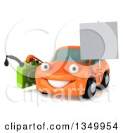 Clipart Of A 3d Orange Porsche Car Character Facing Slightly Left Holding A Blank Sign And A Gas Can Royalty Free Illustration by Julos