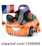 Clipart Of A 3d Orange Mechanic Porsche Car Wearing Sunglasses Facing Slightly Left And Holding A French Flag Royalty Free Illustration by Julos