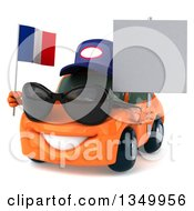 Clipart Of A 3d Orange Mechanic Porsche Car Wearing Sunglasses Facing Slightly Left Holding A Blank Sign And A French Flag Royalty Free Illustration by Julos
