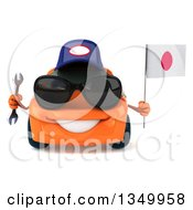 Clipart Of A 3d Orange Porsche Mechanic Car Wearing Sunglasses Holding A Wrench And A Japanese Flag Royalty Free Illustration by Julos